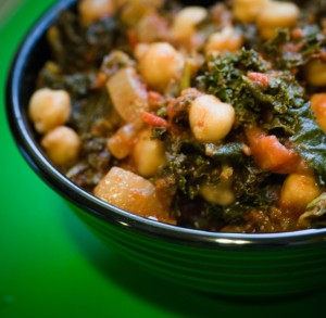 curried chickpeas & greens