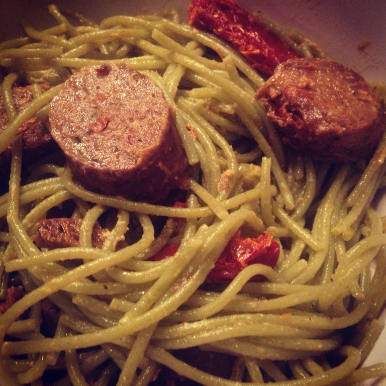 tofurky sausage, spinach pasta, sun dried tomatoes, garlic, evoo and nutritional yeast!