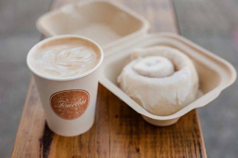 timeless almond milk latte & vegan cinnamon roll