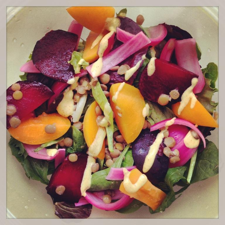 stone fruit & lentil salad (post punk kitchen recipe)