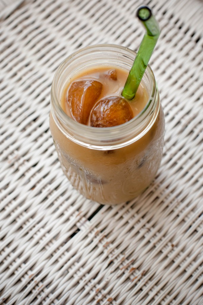 coffee ice cubes, almond milk & coffee = heaven in a mason jar!