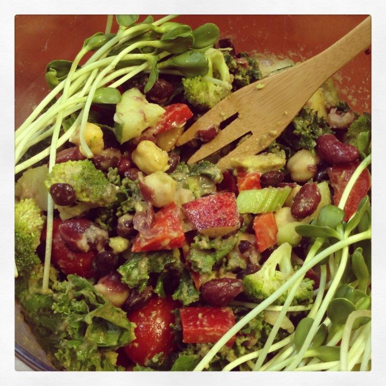 3 bean salad over kale salad - YUM!