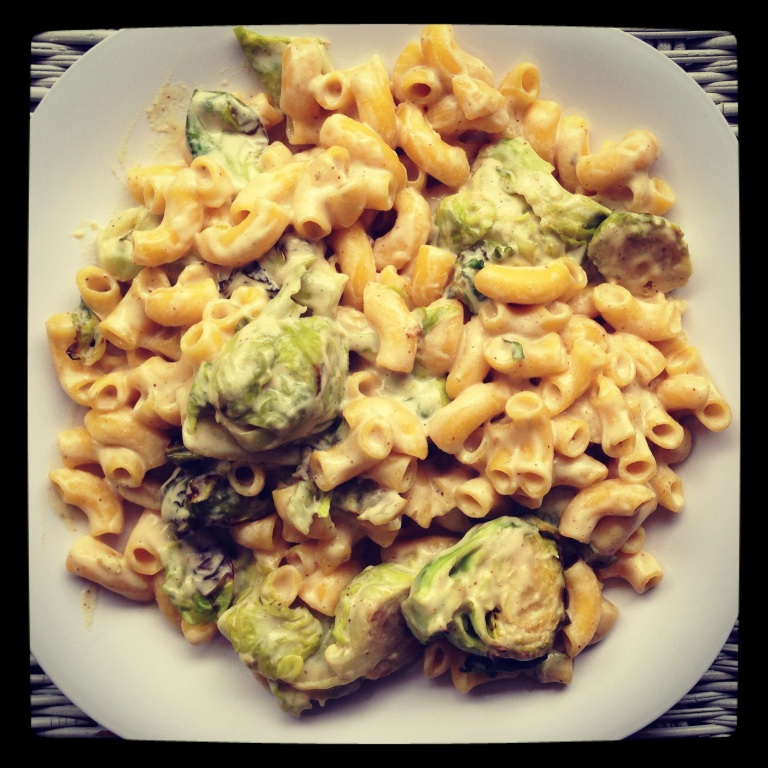 chipotle-less mac & cheese with roasted brussel sprouts