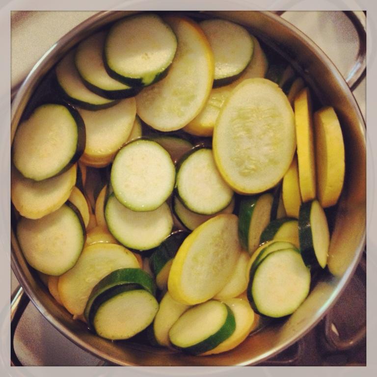 squash casserole in progress