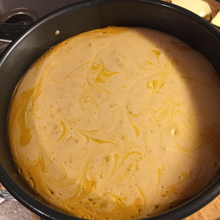 pumpkin cheesecake BEFORE pecan topping was added
